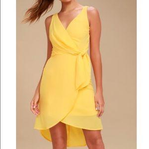 Lulu's Yellow Baldwin High Low Midi Wrap Dress